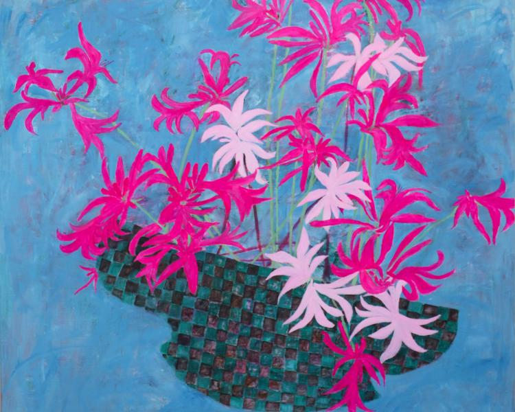 painting of  bright flowers from the garden