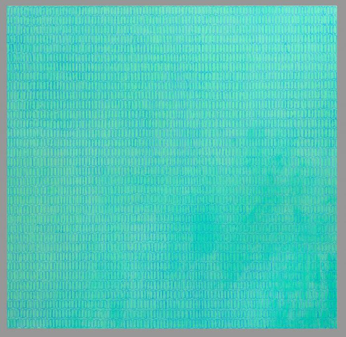 oil painting on canvas green and mauve blue repeated marks like open books