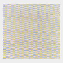 oil on canvas moving lines of pink blue and yellow 53cm x53 cm
