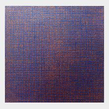 small oil painting in copper and ulyamarine a grid made from crosses