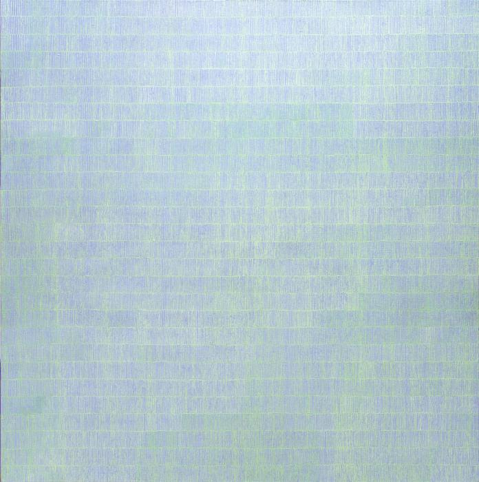0il painting on canvas blue and pale turquoise small lines in rows