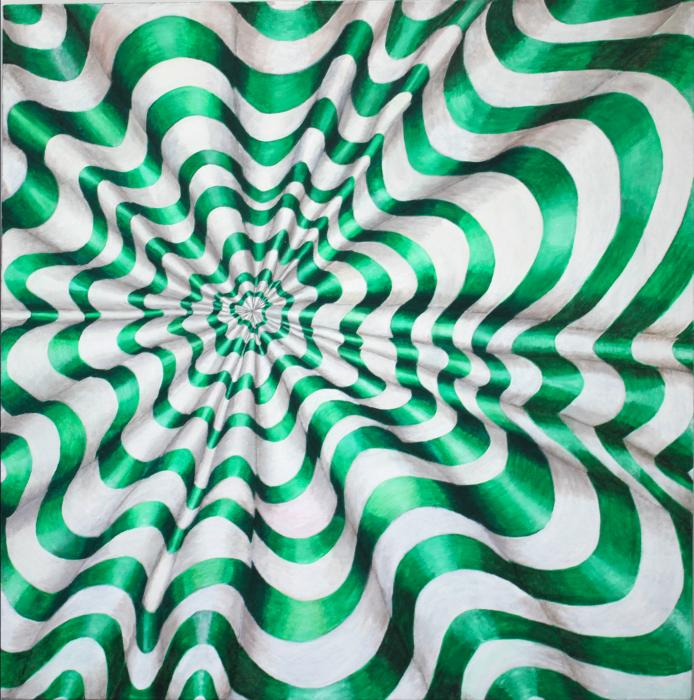 Let The Eyes Do The Work oil on canvas a swirling form in bright green and white