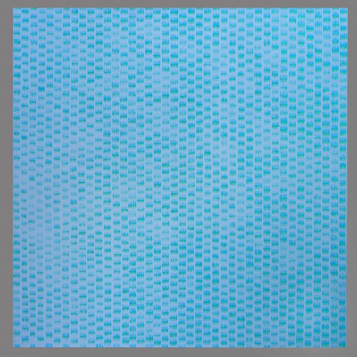 oil painting on canvas blue with blue and green repeated marks