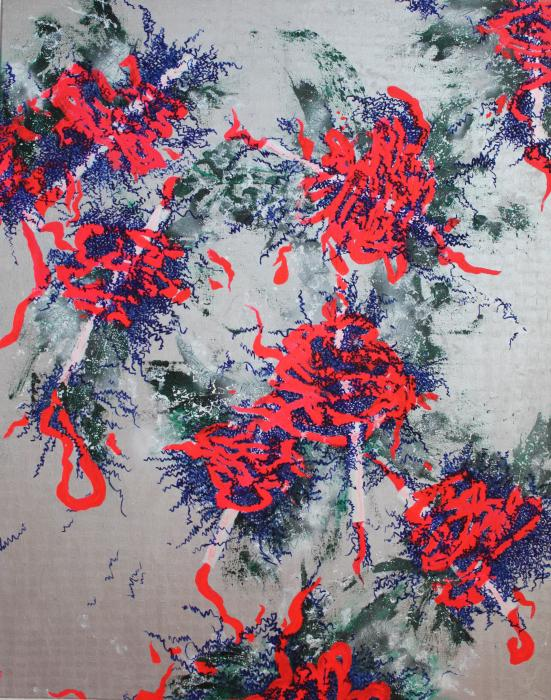 Contemporary abstract mixed media painting on canvas bright red and blue on the silver background